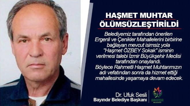 Bayındır'da Haşmet Muhtar ölümsüzleştirildi