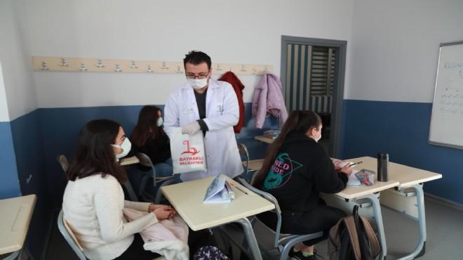 BAYSEM'de öğrenciler hijyen paketiyle karşılandı