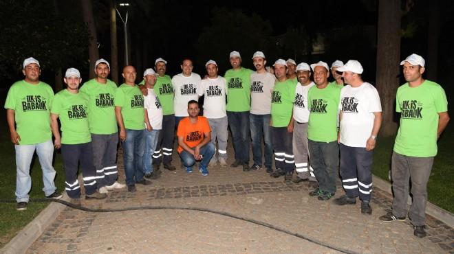 Bornova'da anlamlı mesaj: 'İlk iş babalık'