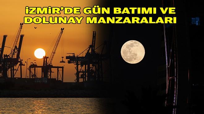 İzmir'de gün batımı ve dolunay