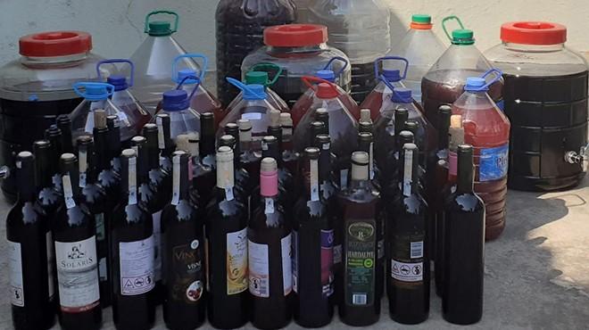 İzmir'de kaçak içki operasyonu: Litrelerce şarap ele geçirildi!