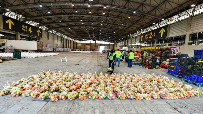 İzmir'de sebze meyve hali esnafından '25 ton'luk destek!
