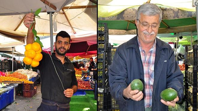 İzmir pazarında mandalina OUT, avokado IN