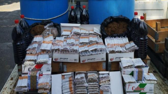 Karabağlar'da kaçak içki ve sigara operasyonu