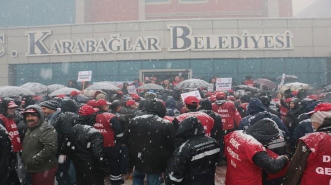 Karabağlar'da kar altında grev!