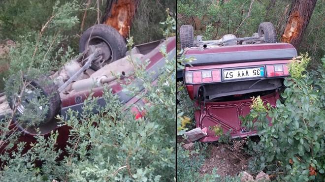 Kınık'ta kaza: Baba-oğul şarampole uçtu