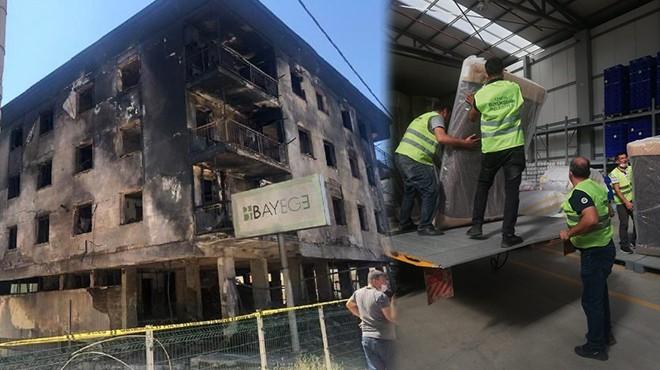 Yangın mağdurlarına Büyükşehir'den yardım eli